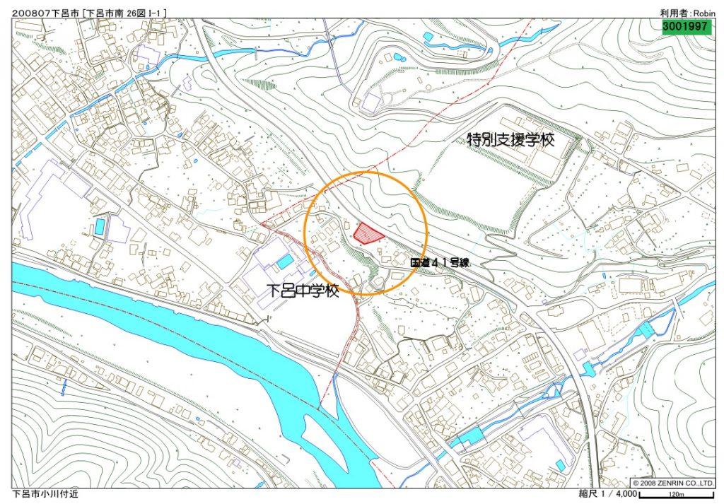下呂市小川 旧焼肉店の地図